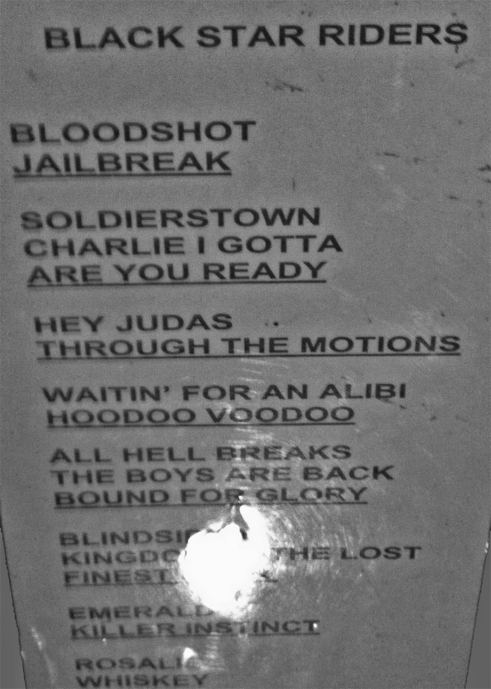 Setlist - Black Star Riders - Berlin - Franz - 22.11.2015