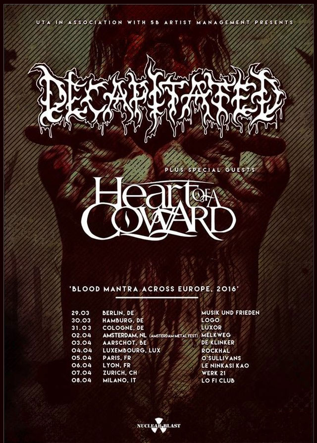 Decapitated - HEART OF A COWARD - Tour 2016 - Tickets und Termine